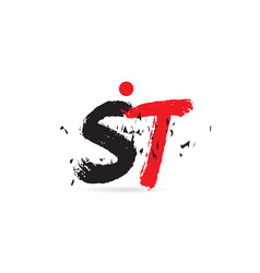 Alphabet letter combination st s t with grunge vector