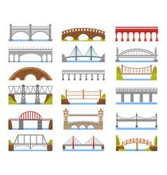 architecture bridge urban river bridge building vector image