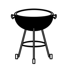 bbq grill front view black silhouette vector image