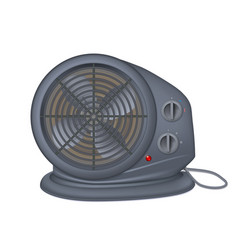 black electric heater with fan radiator appliance vector image