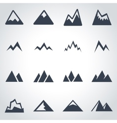 Black mountains icon set vector