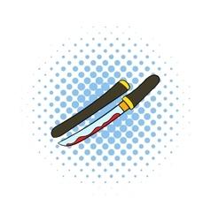 Bloody sword icon comics style vector image