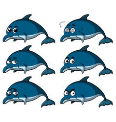 Blue dolphins with different emotions vector