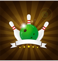 Bowling ball with skittles vector image