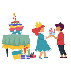 boy giving present to girl in princess costume vector image