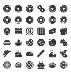 bread donut pie bakery product glyph icon set vector image