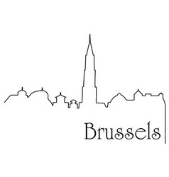 Brussels city one line drawing background vector