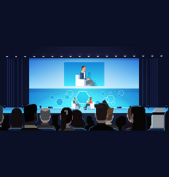 Business man on public interview conference vector