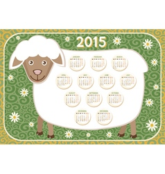 Calendar 2015 Year with cute sheep vector image