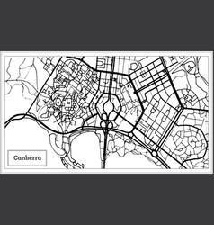 Canberra australia city map in black and white vector