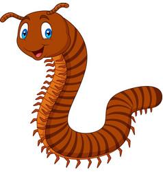 cartoon happy millipedes vector image