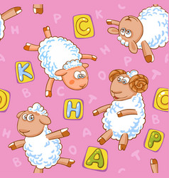 cartoon seamless pattern with cute sheep vector image