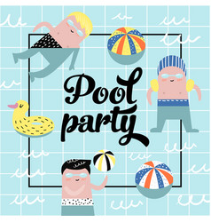 childish design with cute boys in swimming pool vector image
