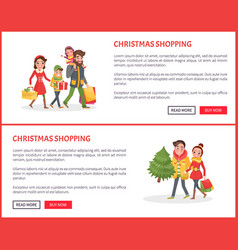 christmas shopping poster couple and children vector image