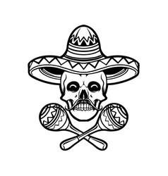 cinco de mayo skull sambrero silhouette vector image