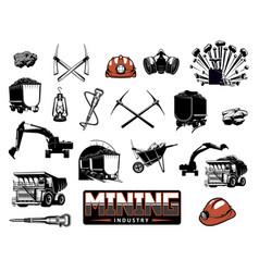 coal mining machinery miner equipment tools vector image