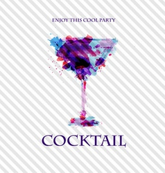 Cocktail watercolor paint disco poster vector image