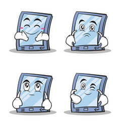 Collection stock tablet character cartoon style vector