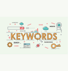 color and thinline keywords marketing online vector image