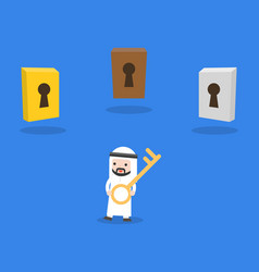 cute arab businessman holding key for open vector image