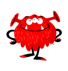 cute monster with funny smiling face three eyes vector image