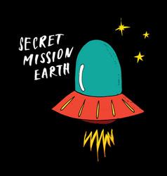 Cute ufo cartoon hand drawn aliens spaceship vector