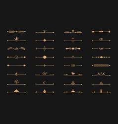 Divider golden line set art deco page text vector