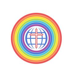 Earth is shrouded in a rainbow covenant vector