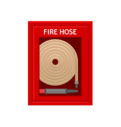 Emergency fire hose inside red metal wall box with vector