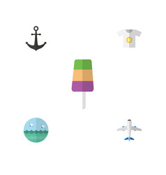 flat icon beach set of clothes ocean sundae and vector image