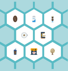 Flat icons paper box timber beverage and other vector