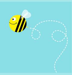 Flying bee in the sky cute cartoon funny fat vector