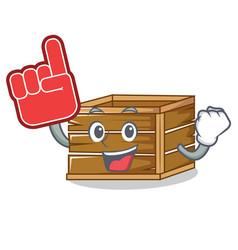 Foam finger crate mascot cartoon style vector