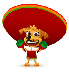 Funny cheerful yellow mexican dog in poncho and vector