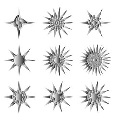 Geometric set stars and flowers for gifts and vector