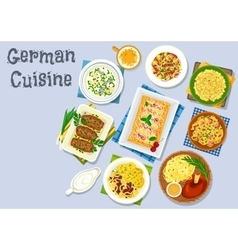 German cuisine dinner with beer and dessert icon vector