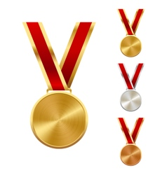 Golden Silver and Bronze Festive Winners Medals vector image