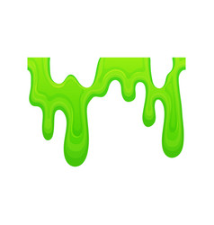 Green slime dripping in a line sticky mucus goo vector