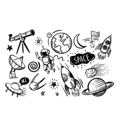 Hand drawn doodles cartoon set of space vector