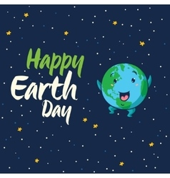 Happy Earth Day cartoon card vector