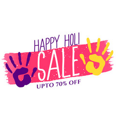 happy holi festival background with colors hand vector image