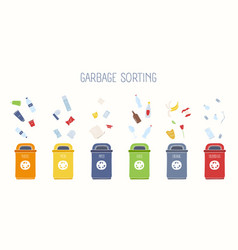 Horizontal banner with trash containers and vector