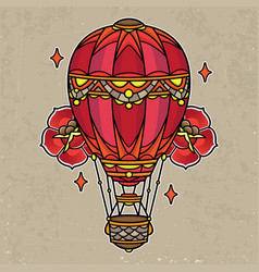 Hot air balloon tattoo flash vector