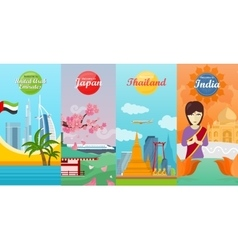 India Emirates Thailand Japan Travel Posters vector image