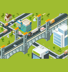 isometric city bridge train railway viaduct urban vector image