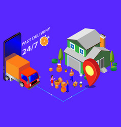 isometric image fast delivery goods arou vector image