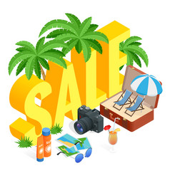 Isometric summer sale promo web banner template vector