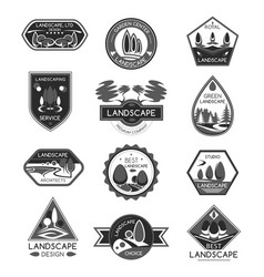 Landscape design company icons set vector