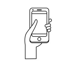 line smartphone digital technology to vector image vector image