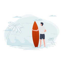 man on a beach holding surfboard vector image
